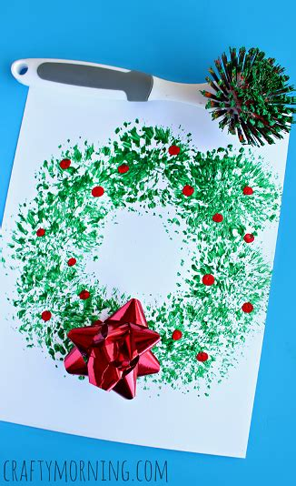 list of crafts for to create crafty morning 113 | fun dish brush christmas wreath craft for kids