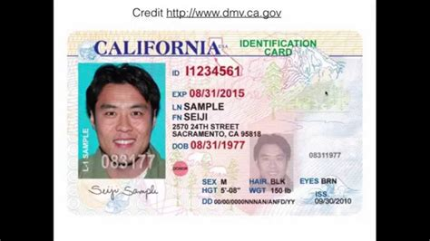 California Id Template Ca Id Card Front