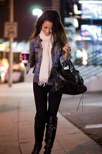 Cropped jean jacket dark grey tee black pants boots and cream scarf