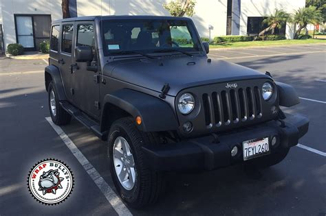 jeep matte grey jeep wrangler rubicon wrapped in matte gray wrap wrap bullys