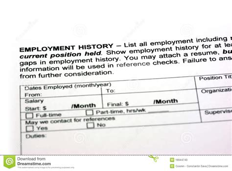 Employment Dates by Employment History Stock Image Image Of Apply Money