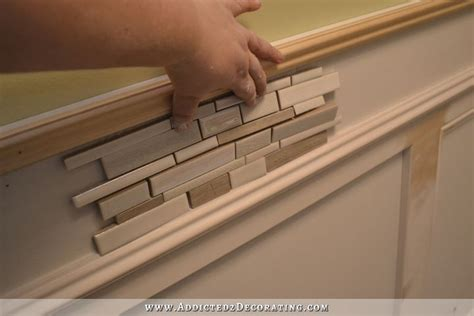 Tile Wainscoting Ideas by Recessed Panel Wainscoting With Tile Accent Part 1 Diy