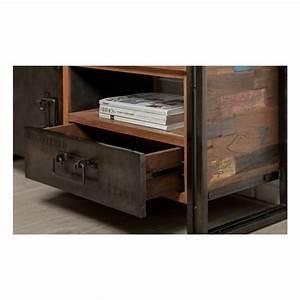 Télé 110 Cm : meuble tv bas 1 porte 1 niche 1 tiroir industriel 110 cm noah en teck massif recycl et m tal ~ Teatrodelosmanantiales.com Idées de Décoration