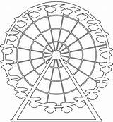 Ferris Wheel Silhouettes Outline Silhouette Coloring Drawing Pages Vector Svg sketch template