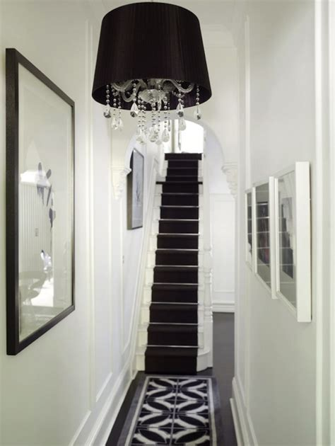 Stair Runner Over Carpet by Black And White Hallway Transitional Entrance Foyer