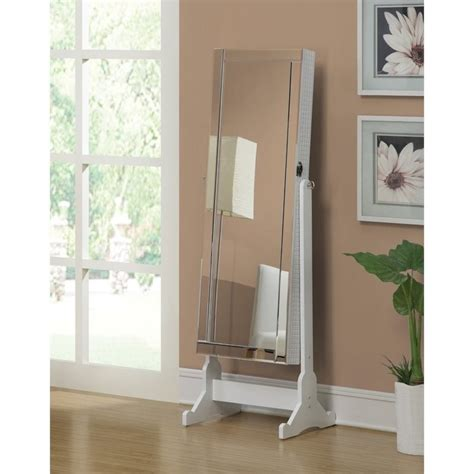 White Mirrored Jewelry Cabinet Armoire by Coaster Jewelry Armoire Accent Mirror In White 901827ii