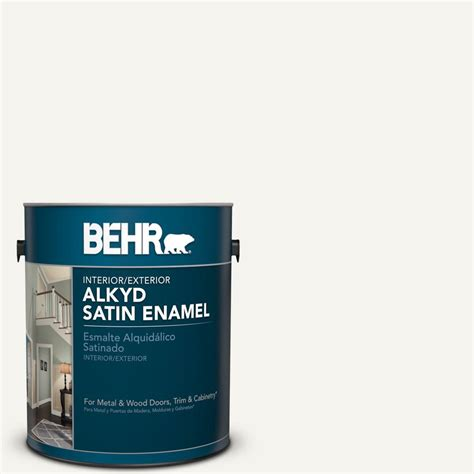 behr 1 gal 75 polar satin enamel alkyd interior exterior paint 790001 the home depot