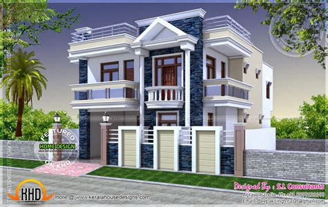 Kerala style house with separate car porch