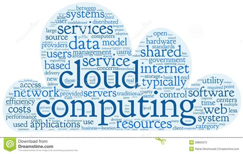 cloud computing concept  word tag cloud stock