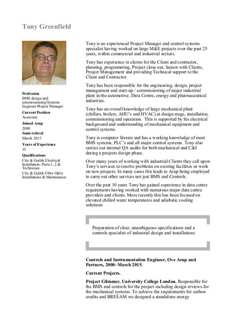 Bms Resume by Tony Greenfield Cv 23 March 2015 Pdf