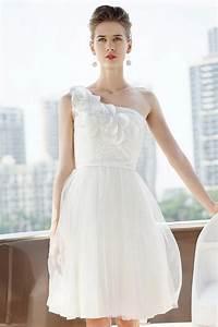 Robe Mariage Dentelle : robe pour mariage blanche courte avec fleurs en dentelle ~ Mglfilm.com Idées de Décoration