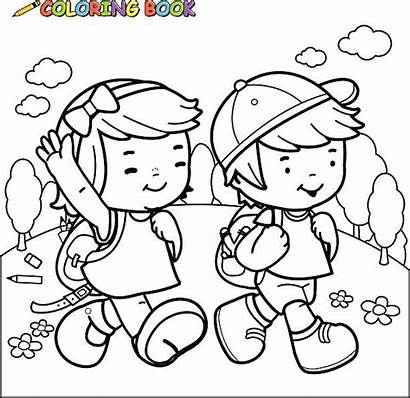 Coloring Pages Illustrations Vector Clip Walk Graphics
