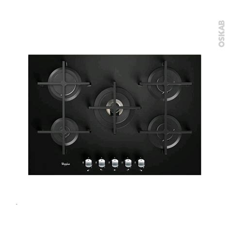 plaque cuisine gaz plaque de cuisson 5 feux gaz 75 cm verre noir whirlpool