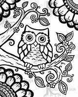 Doodle Owl sketch template