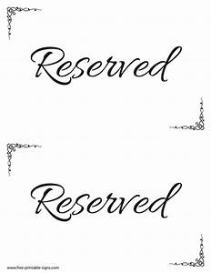 Printable Reserved Sign Template  U2013 Free Printable Signs