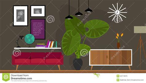 Home Interior Vector : Living Room. Vector Illustration. Vector Illustration
