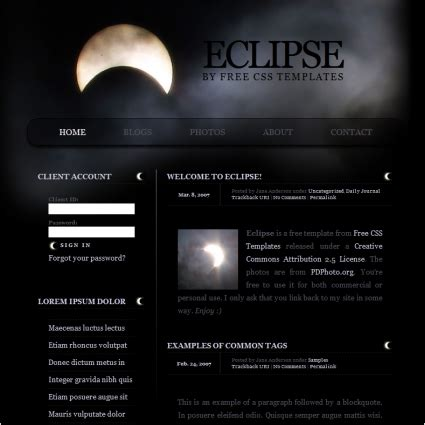 Eclipse Html Template by Eclipse Free Website Templates In Css Html Js Format For