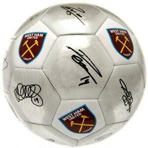 WEST HAM UNITED FC SILVER COLOUR SIGNATURE FOOTBALL ADULT ...