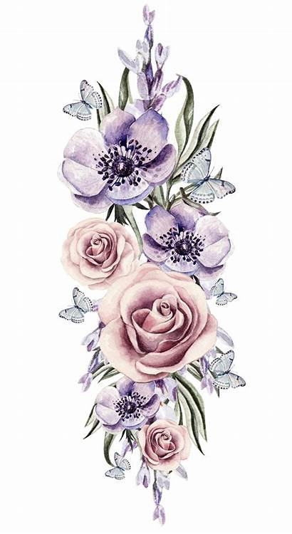 Watercolor Transparent Flowers Flower Clipart Floral Tattoo