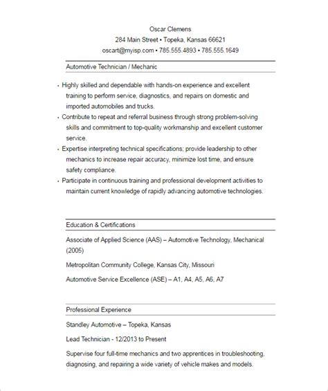 Automobile Engineering Resume by 23 Automobile Resume Templates Free Word Pdf Formats Creative Template