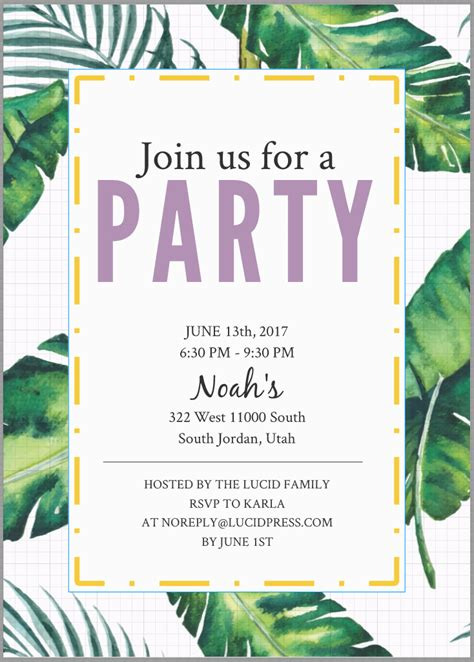 How To Make Free Party Invitations Lucidpress