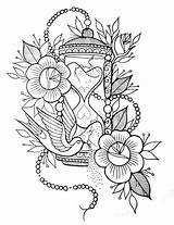 Coloring Adult Mandala Tattoo Printable Hourglass Tattoos Flores Flowers Drawings Printables Drawing Stencils Blank Colouring Coloriage Tatuaje Sheets Dibujos Ideen sketch template