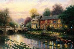 Thomas kinkade lamplight inn painting lamplight inn for The lamp light inn