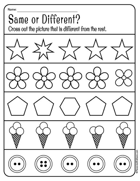 same and different worksheets for preschool free 560 | same and different worksheets 06