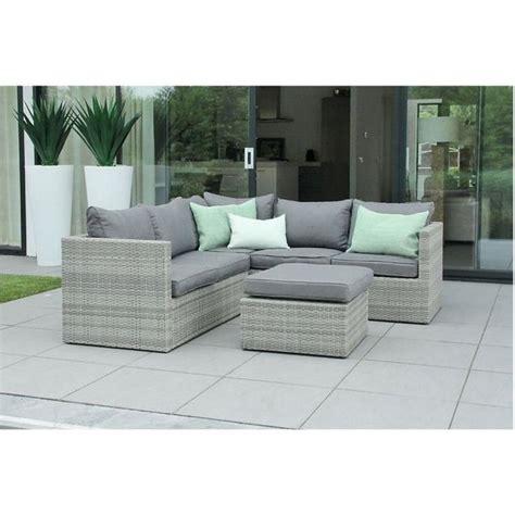 canapé 6 places droit mobilier de jardin en résine tressée design gris beige