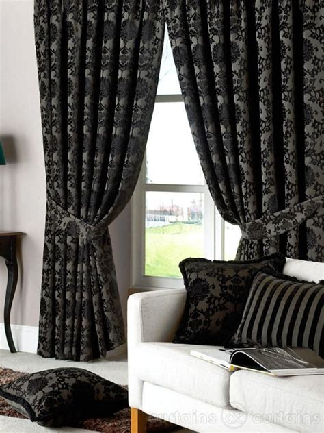 Heavy Curtains by Dulux Luxury Heavy Thick Cut Velvet Black Eyelet Curtain