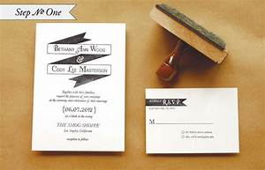 diy rubber stamp quotbannerquot wedding invitations With how much are stamps for wedding invitations