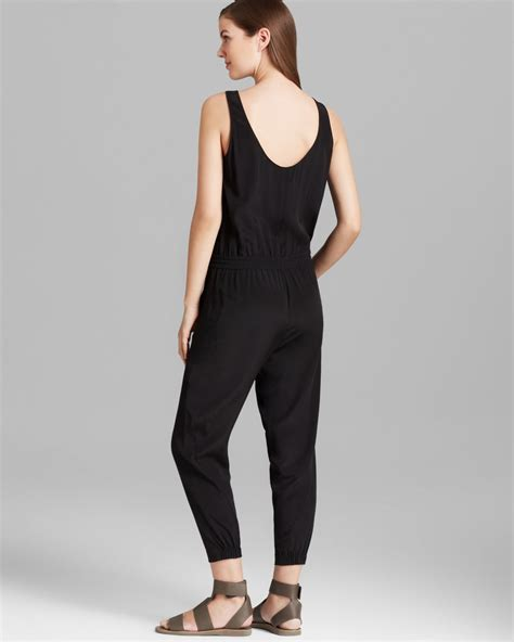 vince jumpsuit vince jumpsuit sleeveless silk in black lyst