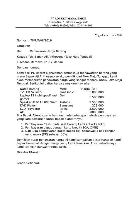 contoh surat penawaran harga yang benar dan baik