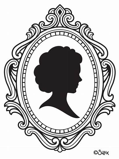 Silhouette Frame Clipart Cameo Frames Drawing Clip