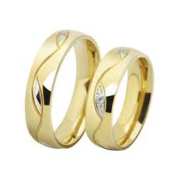 18k gold engagement rings fashion cz rings for 18k gold plated stainless steel wedding ring pair