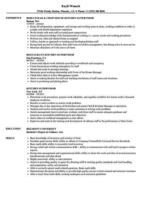 kitchen supervisor resume sles velvet