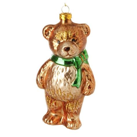 new raz 5 quot teddy bear toy glass christmas tree ornament