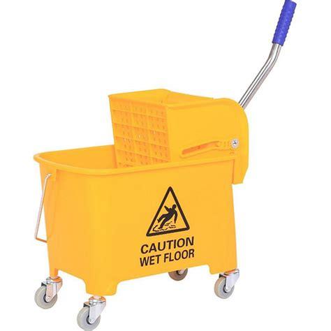 homcom putzwagen mit presse gelb      cm lxbxh