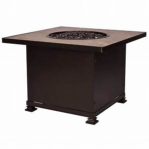 """36"""" Square Chat Height Santorini Fire Pit with Porcelain ..."""