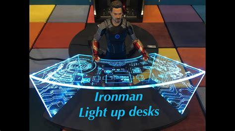 iron man table l tony stark 39 s light up desk iron man collection comicave
