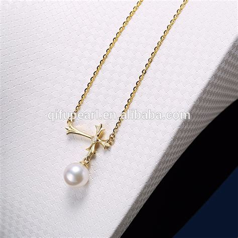 soild gold body jewelry real pearl diamond cross