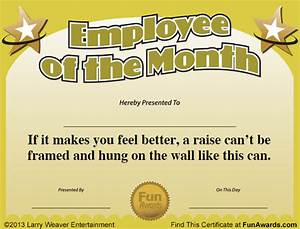 Employee Certificate Templates Free Employee Of The Month Certificate Free Funny Award Template