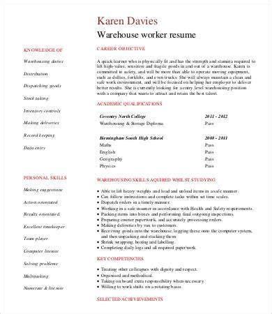 warehouse worker resume   sample  format