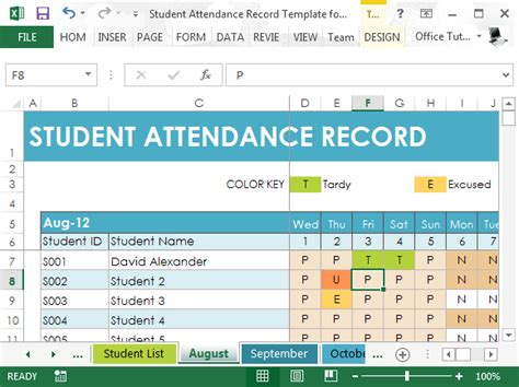 student attendance record template  excel