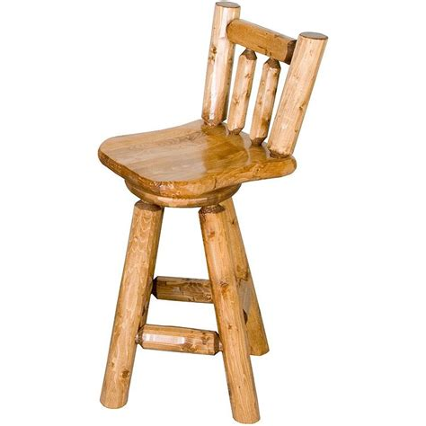 Log Stool - pine log collection log swivel bar stool log031