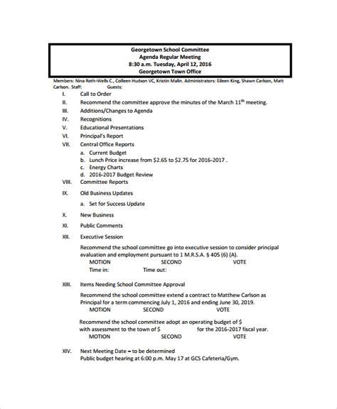 sample school agenda  documents   word