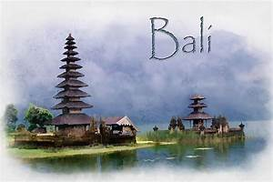 Lake Bratan Bali Indonesia Text Bali Painting by Elaine