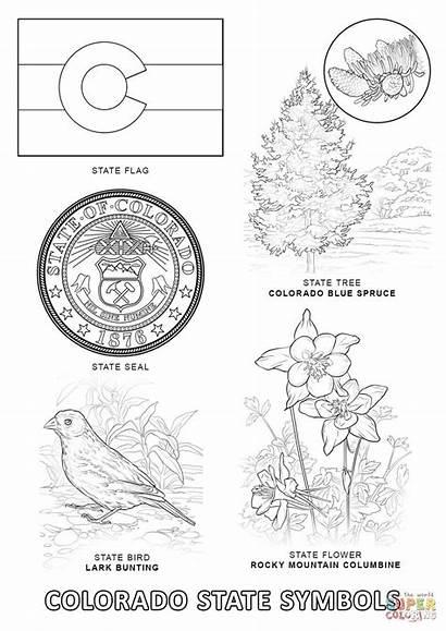 Colorado State Coloring Symbols Pages Printable Supercoloring