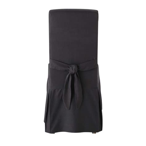 cotton chair cover with bow in charcoal grey margaux