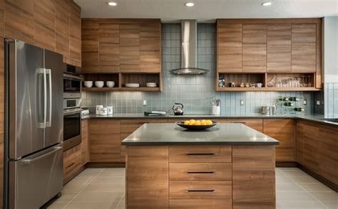 Stylish Kitchen Design With Laminate Wooden Island And